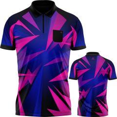 Arraz Shard Dart Shirt - with Pocket - Black & Blue - Pink
